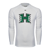Under Armour White Long Sleeve Tech Tee-Official Logo Distressed
