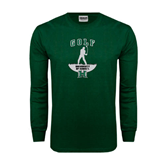 Dark Green Long Sleeve T Shirt-Golf Arched With Player