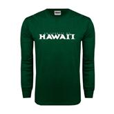 Dark Green Long Sleeve T Shirt-University Of Hawaii