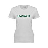 Ladies White T Shirt-Hawaii