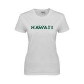 Ladies White T Shirt-University Of Hawaii