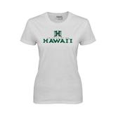 Ladies White T Shirt-Stacked University of Hawaii