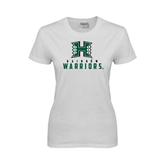 Ladies White T Shirt-Stacked Rainbow Warriors