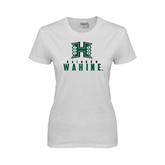 Ladies White T Shirt-Stacked Rainbow Wahine