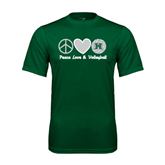 Performance Dark Green Tee-Volleyball Peace Love Volleyball Stacked