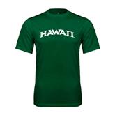 Performance Dark Green Tee-Hawaii Arch