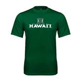 Performance Dark Green Tee-Stacked University of Hawaii