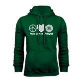 Dark Green Fleece Hood-Volleyball Peace Love Volleyball Stacked