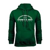 Dark Green Fleece Hood-Football Arched