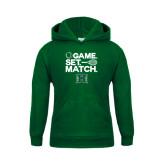 Youth Dark Green Fleece Hoodie-Tennis Game Set Match