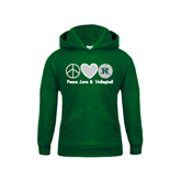Youth Dark Green Fleece Hoodie-Volleyball Peace Love Volleyball Stacked