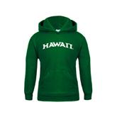 Youth Dark Green Fleece Hoodie-Hawaii Arch