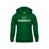 Youth Dark Green Fleece Hoodie-Stacked University of Hawaii