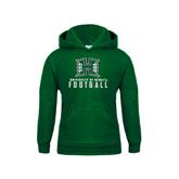 Youth Dark Green Fleece Hoodie-Football