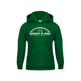 Youth Dark Green Fleece Hoodie-Football Arched