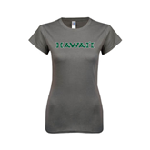 Ladies SoftStyle Junior Fitted Charcoal Tee-Hawaii