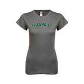 Ladies SoftStyle Junior Fitted Charcoal Tee-Hawaii Arch