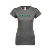 Ladies SoftStyle Junior Fitted Charcoal Tee-University Of Hawaii