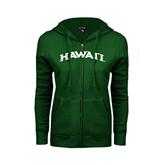 ENZA Ladies Dark Green Fleece Full Zip Hoodie-Hawaii Arch