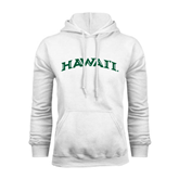 White Fleece Hoodie-Hawaii Arch