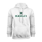 White Fleece Hoodie-Stacked University of Hawaii