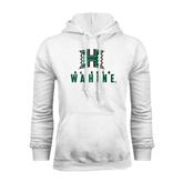 White Fleece Hoodie-Stacked Rainbow Wahine