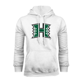 White Fleece Hoodie-Official Logo Distressed