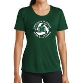 Ladies Performance Dark Green Tee-Volleyball Ball w/ Stars