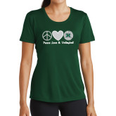 Ladies Performance Dark Green Tee-Volleyball Peace Love Volleyball Stacked