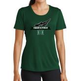 Ladies Performance Dark Green Tee-Track & Field Side Shoe