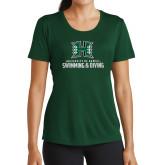 Ladies Performance Dark Green Tee-Swimming & Diving