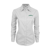 Ladies White Twill Button Down Long Sleeve-Hawaii Arch