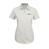 Ladies White Twill Button Up Short Sleeve-Hawaii Arch