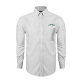 Mens White Oxford Long Sleeve Shirt-Hawaii Arch