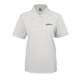 Ladies Easycare White Pique Polo-Hawaii Arch