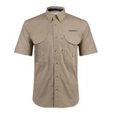 Khaki Short Sleeve Performance Fishing Shirt-Hawaii