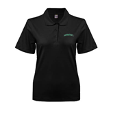 Ladies Easycare Black Pique Polo-Hawaii Arch