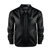 Black Leather Bomber Jacket-Hawaii Arch