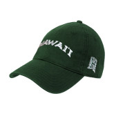 Dark Green Twill Unstructured Low Profile Hat-Hawaii Arch