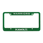Metal Green License Plate Frame-Hawaii Engraved