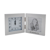 Silver Two Tone Photo Frame w/Clock-Hawaii Engraved