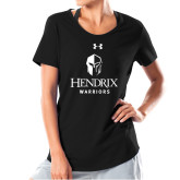 Ladies Under Armour Black Charged Cotton Tee-Hendrix Warriors Stacked Logo