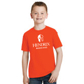 Youth Orange T Shirt-Hendrix Warriors Stacked Logo