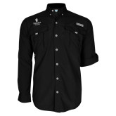 Columbia Bahama II Black Long Sleeve Shirt-Hendrix Warriors Stacked Logo