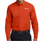 Orange Twill Button Down Long Sleeve-Hendrix College Warriors Horizontal Logo