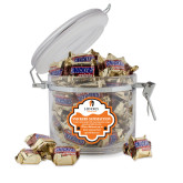 Snickers Satisfaction Round Canister-Hendrix Warriors Stacked Logo