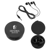 Ear Buds in Black Case-Hendrix Warriors Stacked Logo