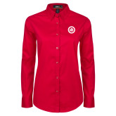 Ladies Red Twill Button Down Long Sleeve-Secondary Mark