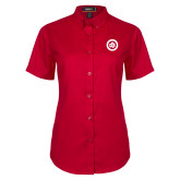 Ladies Red Twill Button Up Short Sleeve-Secondary Mark
