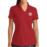 Ladies Nike Golf Dri Fit Red Micro Pique Polo-Primary Mark